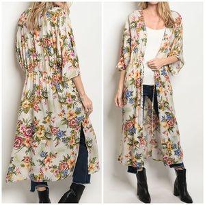 Sweaters - Stunning IVORY floral kimono cardigan